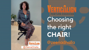 """Zeena, sitting in a chair next to the text """"choosing the right chair"""""""